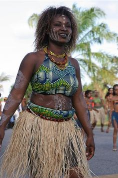 French Guiana People In Traditional Dresses.