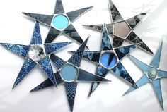 Cami Star 8 inch pale blue stained glass star with by KurtKnudsen kurtknudsen.etsy.com