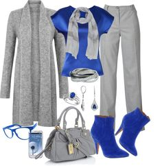 """""""Blue Grey Buisness Wear for Contest"""" by lori-douglas-hallman ❤ liked on Polyvore"""