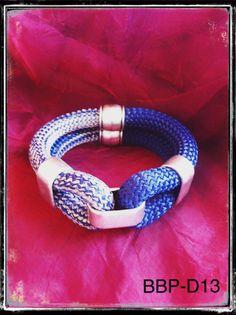 66149efb1f64 BBP-D13 Pulsera cuerda escalada 10mm. de color y Azul veteado con gris y