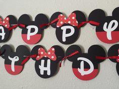Mickey & Minnie Birthday Banner Mickey and by NettiesCraftyCorner