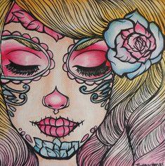 "Tattoo Flash Art Print Day of the dead girl Woman Illustration cute  Print Rockabilly Sugar Skull Pin Up Girl  "" Just Breathe""."