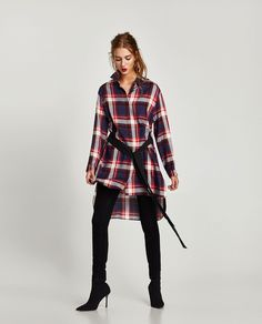 CHECKED SHIRT WITH BELT from Zara
