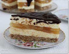 Gizi-receptjei: Diós-vaníliakrémes körtetorta. Hungarian Desserts, Fall Desserts, Vanilla Cake, Tart, Healthy Snacks, Bakery, Cheesecake, Deserts, Food And Drink