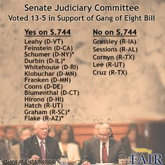 Vote total in the passage of S.744 out of the Senate Judiciary Committee was 13-5.