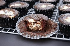 Black Bottom Cupcakes ~ tender chocolate cakes with a chocolate chip cheesecake center.  Scrumptious!   www.thekitchenismyplayground.com