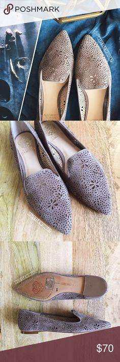 Vince Camuto suede perforated flats Vince Camuto   'Earina' perforated flat in Stone Taupe Suede. These slip-on style flats feature a pointy toe, curved loafer topline, and dainty floral cutouts. Pair these feminine and sophisticated flats with a soft cardigan or chambray shirt for a polished and casual look. Bottoms are slightly worn as shown in last photo; in otherwise excellent, like new condition.   Size: 7 1/2  [All photos shown are my own and may not be used.] Vince Camuto Shoes Flats…
