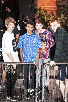Robbie McKinnon, Jackson Hale, Greg France, and Jake Shortall outside VFiles, S/S 2015