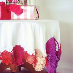 Colorful dyed doily tablecloth