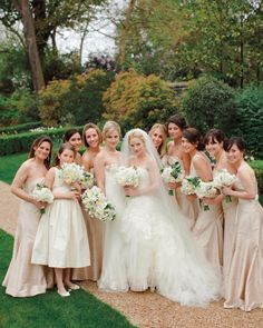 Lucy, her nine #bridesmaids, and the flower girl squeezed in for a pretty shot.