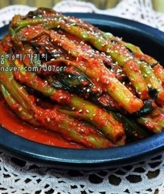 Korean Side Dishes, Kimchi Recipe, Buddha Bowl, Korean Food, Green Beans, Good Food, Food And Drink, Vegetables, Cooking
