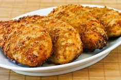 Garlic Parmesan chicken breasts in the oven.