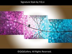 Christmas sale Hand Paint Love birds acrylic by QiQiGallery