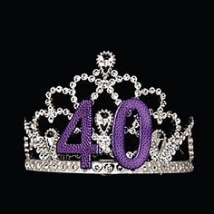This 40th Birthday Tiara gives the illusion of rhinestones with a large purple 40 in the center to honor the guest of honor.
