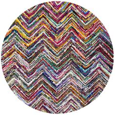 Safavieh Handmade Nantucket Abstract Chevron Multicolored Cotton Rug (6' x 6' Round) , Multi, Size 6' x 6'