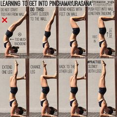 HAPPY #FOREARMFRIDAY Here are a few tips for those who are learning to get into Pinchamayurasana Forearmbalance against the wall- starting closer to the wall just makes everything a lot easier. Just keep thinking of reaching the tailbone to the sky, and keep pushing the forearms (shoulder-width apart) into the ground to lift. #foxyroxyyoga #forearmstand #forearmbalance