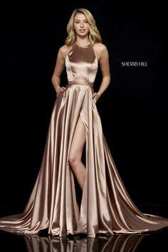 long prom dresses - Size 2 Mocha Sherri Hill 52120 Silk Charmeuse Gown with Pockets Sherri Hill Prom Dresses, Grad Dresses, Satin Dresses, Dresses Dresses, Wedding Dresses, Dress Prom, Halter Dresses, Flapper Dresses, Dance Dresses