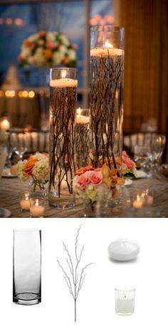 Make your own DIY wedding centerpieces by submersing branches and top with a floating candle! So easy and yet so beautiful! #diywedding