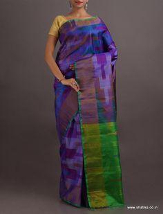 Sameeksha Sapphire And Emerald Lustrous Pure #IkatSilkSaree