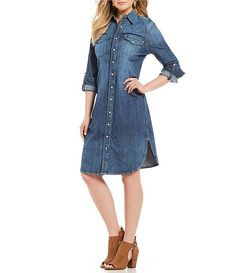 Beautiful snap front denim dress with side slits, long sleeves. Show as much as you like with comfort. Denim Shirt Dress, Chambray Dress, Button Front Dress, Got The Look, Daily Wear, Dillards, I Dress, African Fashion, Shirtdress