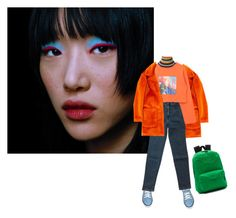 """orange of oceans"" by dreamermuser ❤ liked on Polyvore featuring MSGM, H&M, Versace, I'm Isola Marras and Vans"