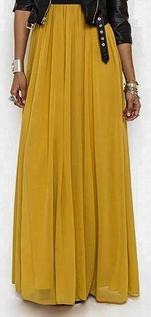 Chiffon Pleated Maxi Skirt Skirt Length: 100 cm Lining Length: 99 cm Style: Pleated Material: Chiffon Elastic Waist Band-One Size Fits All-Stretches up to 31.5 inches