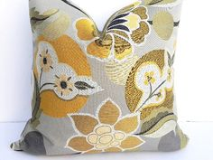 Floral Grey Decorative Pillow Cover 20X20Home Decor by PillowChix, $48.00