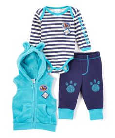 Look at this Aqua Raccoon Three-Piece Vest Set on #zulily today!