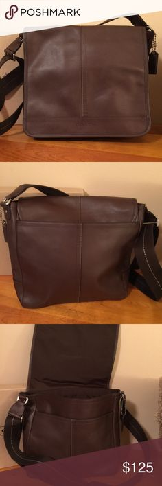Coach Lexington Leather Map Bag Coach number J1269-F70663. Color is Brown/Silver. Inside zip pocket, cellphone and multifunction pockets. Hidden magnetic snap closure, fabric lining. Outside back open pocket. Adjustable webbed strap for shoulder or cross body wear. Coach Bags