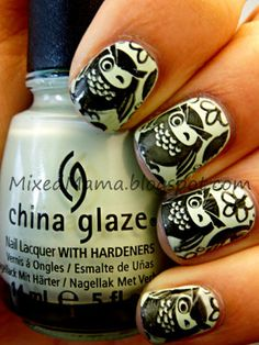 China Glaze's Re-Fresh Mint stamped with Bundle Monster plate BM-309