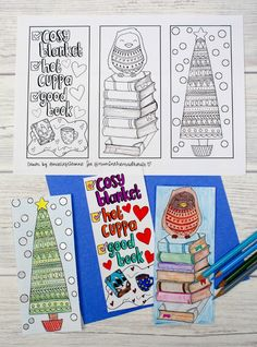 Free winter colouring bookmarks printable. These Beautiful seasonal bookmarks are perfect for adults and teens to colour.