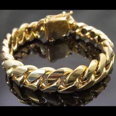 14k Gold Mens Cuban Link Bracelet Stainless Steel Boutique