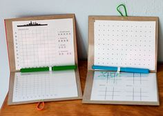 Travel Game Folios. The folios have plastic sheeting for reuse, and include game sheets (that slide behind the plastic) for Battleship, Tic-tac-toe, Dot Line Game, etc, as well as lined paper for writing. Neat idea!