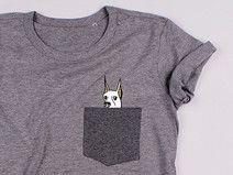 DOG w kieszonce - SZARA koszulka - LUŹNA