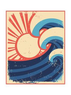 Vintage Sun And Sea Waves Vector Icons Of Illust By