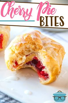 Cherry Pie Bites use simple ingredients like cherry pie filling and crescent rolls to make an easy, tasty dessert! Topped with an easy icing. Cherry Desserts, No Cook Desserts, Great Desserts, Mini Desserts, Delicious Desserts, Pillsbury Crescent Roll Recipes, Crescent Rolls, Breakfast Dessert, Dessert Bars