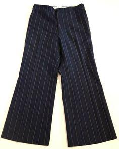 Navy Blue Pinstripe Simon Gee Flares Flared Bell Bottom Slacks pants W Slacks Pants, Harem Pants, Jeans, Striped Pants, Bell Bottoms, Navy Blue, Fashion, Moda, Harem Trousers