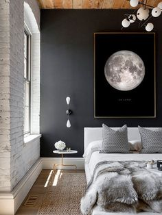 Hard to dislike dark blue colors and gold touches.Full Moon Poster La Luna Printable Full Moon Print by printabold with a white brick wall, lots of textures, scandi bedroom, modern side table, accent pillows and a dark blue wall. Scandi Bedroom, Trendy Bedroom, White Bedroom, Home Decor Bedroom, Bedroom Modern, Bedroom Ideas, Brick Bedroom, Bedroom Designs, Bedroom Bed