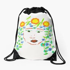 Girl with flowery hair by Elisavet by azimaplace | Redbubble Top Artists, Drawstring Backpack, Backpacks, Spring, Hair, Painting, Fashion, Moda, Fashion Styles