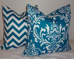 Two OUTDOOR  Zig Zag Chevron Teal Blue/White & Teal Blue Damask Outdoor Pillow Cover 18x18