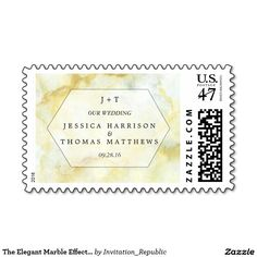 The Elegant Marble Effect Wedding Collection Postage Stamp