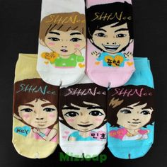 KPOP-Korean-super-star-character-socks-5-pairs-shinee-free-shipping-gift