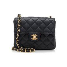 Rental Chanel Caviar Leather Classic SquareMini Flap Bag (3.986.090 IDR) ❤ liked on Polyvore