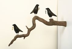 Three Ravens on Trompe L'oeil Branch by Mark Orr: Wood Wall Art available at www.artfulhome.com