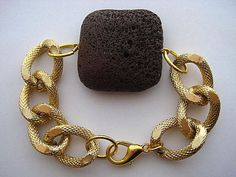 Celebrity Inspired Textured Gold Chunky Curb Chain..Natural Chocolate Lava...Stack 'em Up    by CelebrityTrendz, $16.00