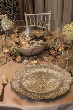 Beach themed centerpiece at the Sawgrass Bridal Show.