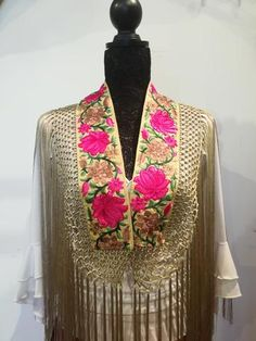 Embroidered bands with silk fringe Macrame, Kimono Top, Band, Accessories, Tops, Women, Fashion, Happy, Trellis