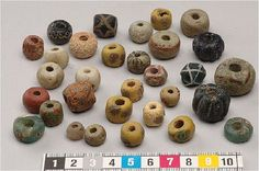 Some eye-catching beads from Viking Age Gotland. Lampwork glass, rock crystal…