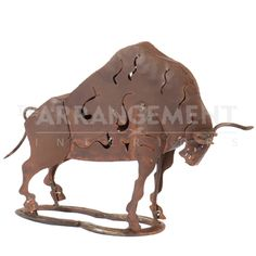 Iron Bull Sculpture  Made from industrial recycled scrap metal, this bull will be great for your garden or as a home decor item. This sculpture also makes a great gift, and will develop a unique rusted patina over time.