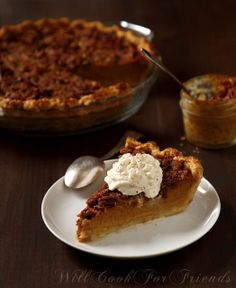 Pumpkin Pie with Pecan Streusel   2 cups whole milk*  2 cups fresh pumpkin puree (click for tutorial)  3/4 cup turbinado sugar (or light brown sugar, loosely packed)  2 large eggs  2 tsp. vanilla extract  2 1/2 tsp. ground cinnamon  1 1/2 tsp. ground nutmeg  1 1/2 tsp. ground ginger  1/8 - 1/4 tsp. cloves  1/2 tsp. sea salt    *Can be substituted with half-and-half, or cream, for a richer pie